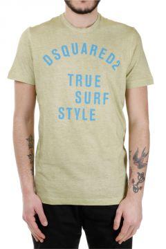 T-Shirt Stampata in Cotone e Lino