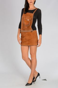 Leather Salopette Mini Skirt
