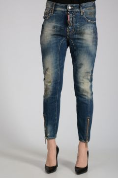 15cm BIKER Distressed Jeans with Ankle Zip