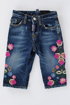 Jeans KAWAII In Denim Stretch con Ricami