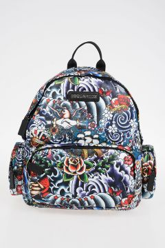 Tattoo Style Printed Fabric Backpack