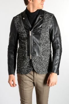 Virgin Wool Blend & Leather Jacket