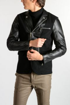 Virgin Wool & Leather Biker Jacket