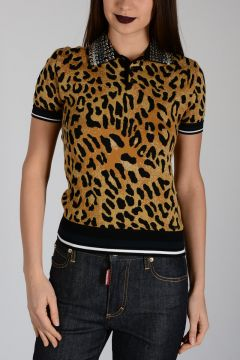 Jewel Embroidered Leo Printed Polo
