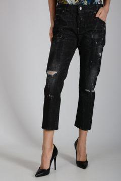 17cm Glittered Stretch Denim COOL GIRL CROPPED Jeans