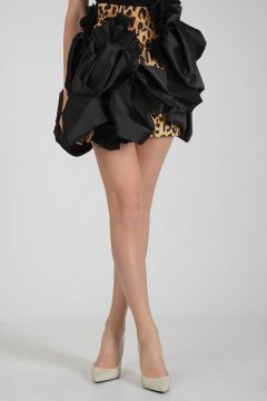 Leopard Skin Miniskirt with Bow