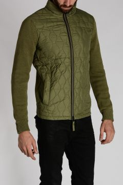 Nylon and Cotton Knit PERIFETE Down-Jacket
