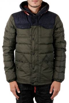 PIRAMO Down Jacket with Details in Wool and Silk