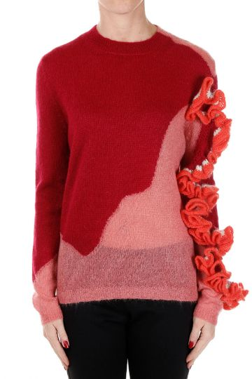 Mixed Alpaca Round Neck Sweater with Ruffles