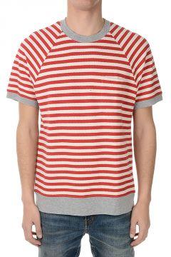 T-Shirt a Righe in Misto Cotone