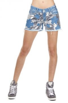 Shorts GIULIA in Denim con Paillettes