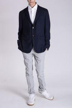 Pantaloni Chino a Righe in Cotone Stretch