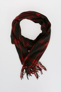 Wool and Angora Checked Scarf
