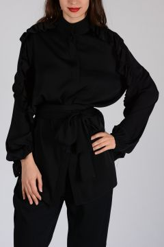 Mixed Silk Shirt with Frill