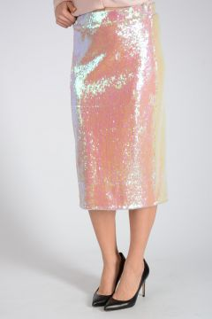 Sequins Embroidery Pencil Skirt