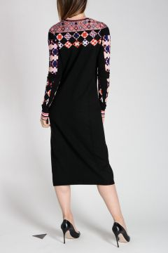 Geometric Intarsia Sweater Dress