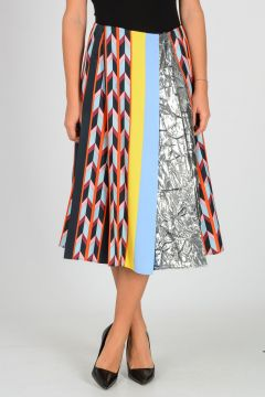Pleated Silk Blend Skirt
