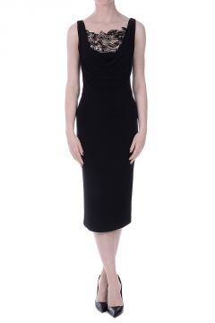 Embroidery Black Pencil Dress