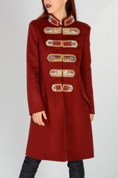 Embroidery Virgin Wool Angora Coat