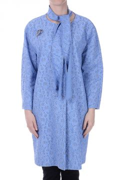 Lace Duster Coat with Brooch