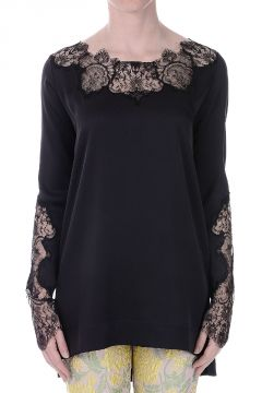 Sleeved Stretch Silk Top with Lace details