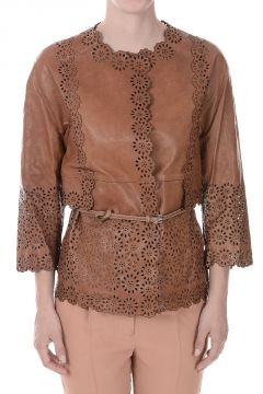Embroidery Leather Blazer