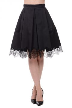 Stretch Silk Laced Hem Skirt