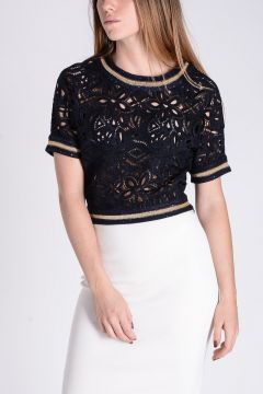 Knitted Embroidery Crop Top