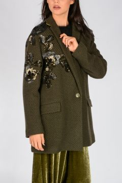 Sequined Wool Blend Peacoat