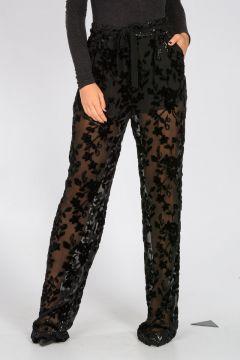 Pantaloni in Chiffon con Ricami Floreali