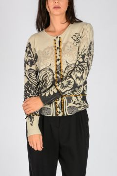 Floral Printed Wool & Cashmere Cardigan