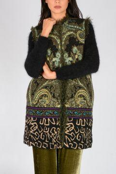 Floral Jacquard & Fur Coat