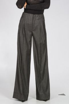 Pantaloni a Zampa Gessati in Misto Lana
