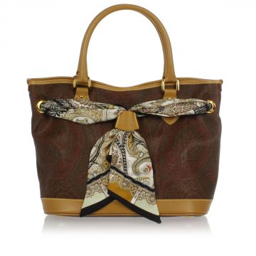Fabric and Leather Hand Bag with Foulard