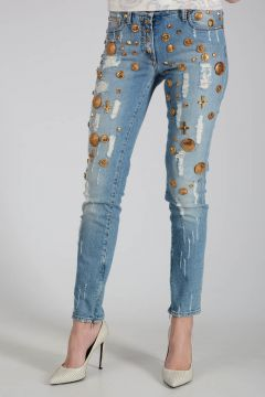 13cm Stretch Denim Jeans with Gold Application
