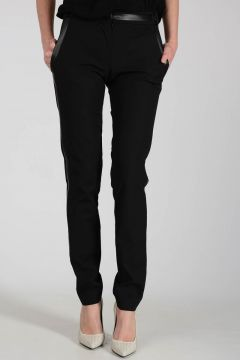 Stretch Cotton and Nylon Pants with Lateral Stripe