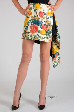 Floral Printed Asymmetrical Skirt