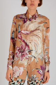 Floral Printed Silk Shirt