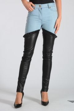 Pantaloni in Denim stretch e Pelle