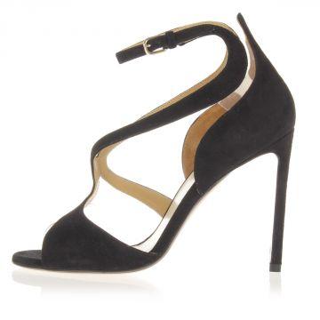 Sandalo in Pelle Scamosciata Tacco 10 cm