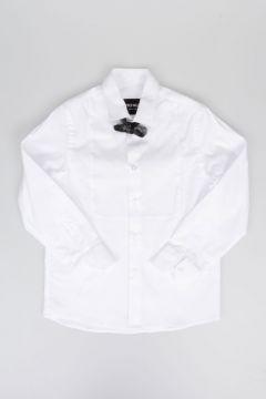 Camicia in Popeline di Cotone con Papillon