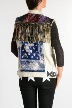 Denim Jacket Waistcoat With Stud & Fringes