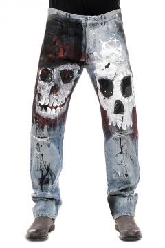 Destroyed Denim Skull Printed Jeans 20 cm