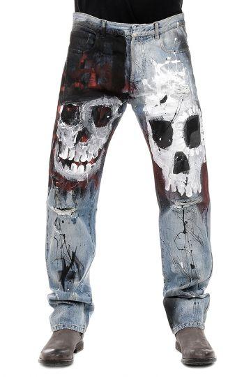 Jeans con Teschi in Denim con Strappi 20 cm