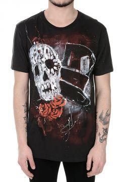 T-shirt in Cotone Stampata con Teschio