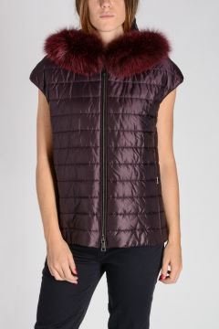 Sleeveless Padded Jacket with Real Fur