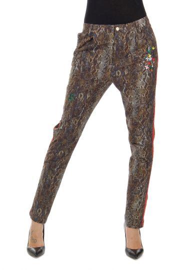Pantaloni fantasia rettile con ricamo