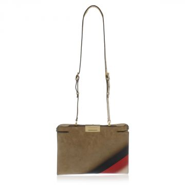 Clutch PEEKABOO suede leather Bag with Patent Leather Details
