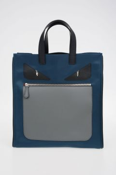 Borsa Shopping In Nylon Mostri BLU/GRIGIO
