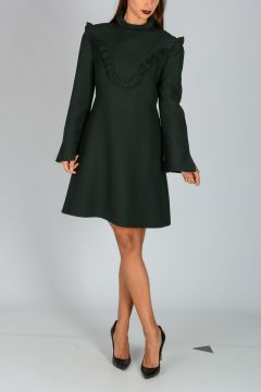 Silk Wool Dress with Rouches